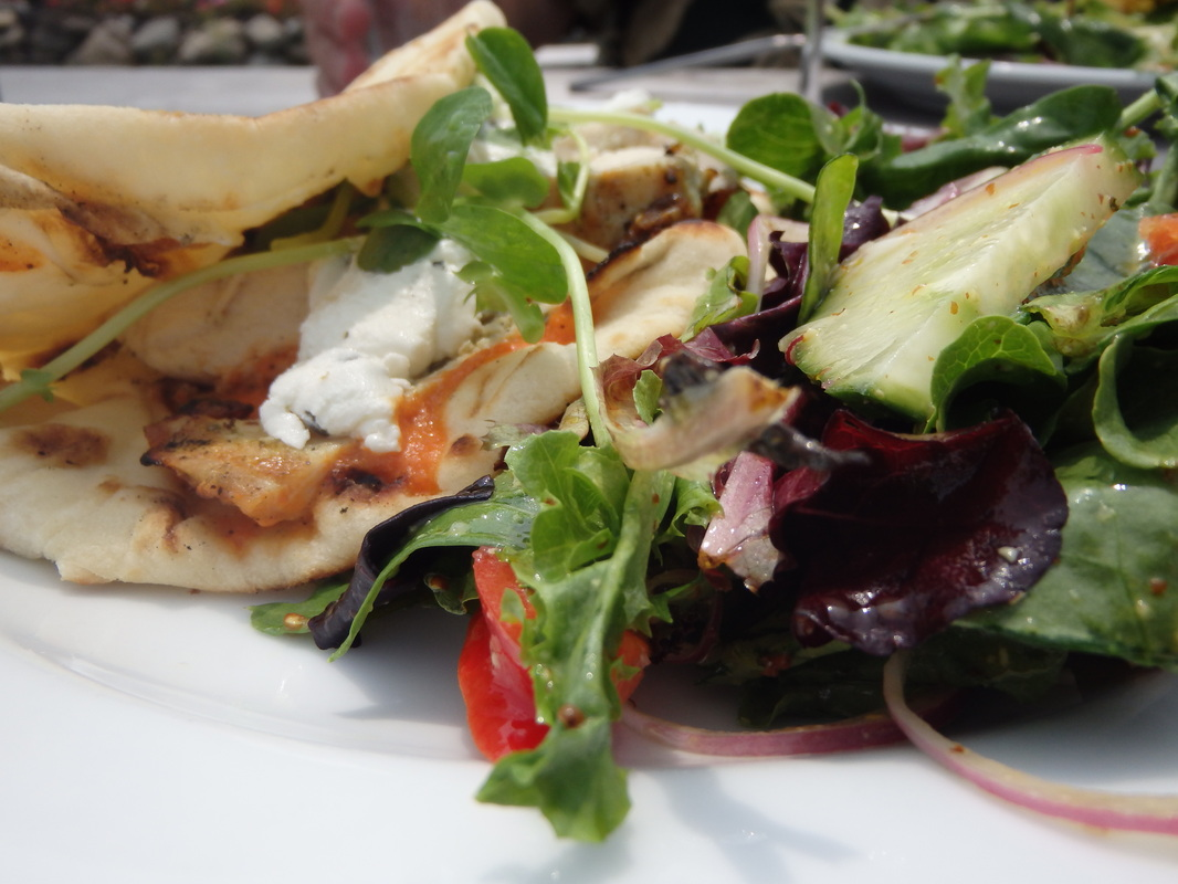 Chicken goat cheese flat bread sandwich and salad at Davids On Tour