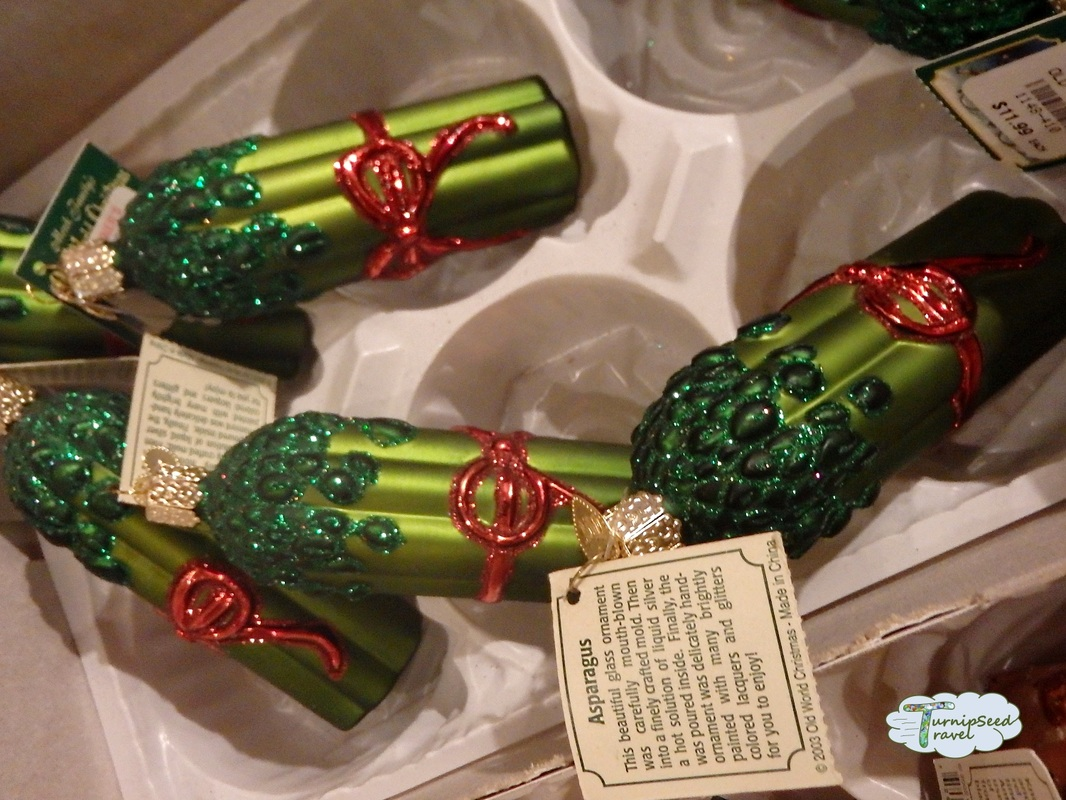 asparagus holiday ornaments at bronners christmas wonderland