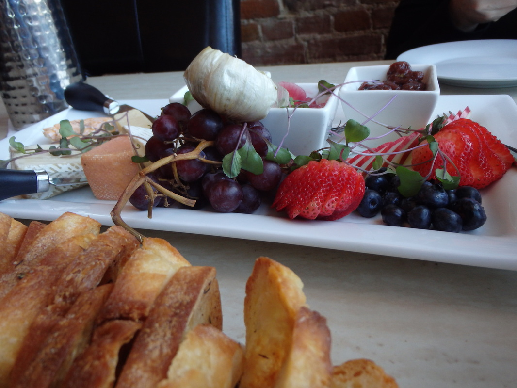 Cheese and fruit tray with baguette at Schofield's Bistro in Port Dover