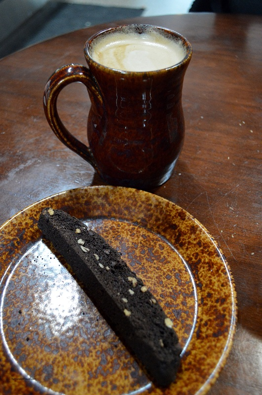 Chocolate biscotti and latte