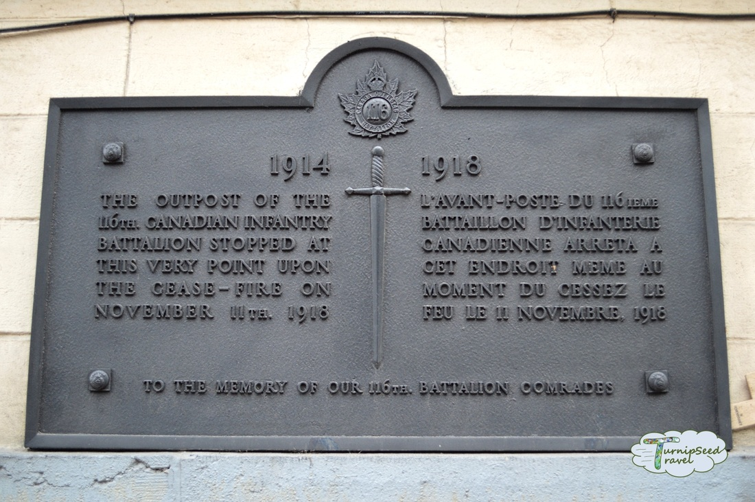 The plaque placed by the 116th Canadian Infantry Battalion.