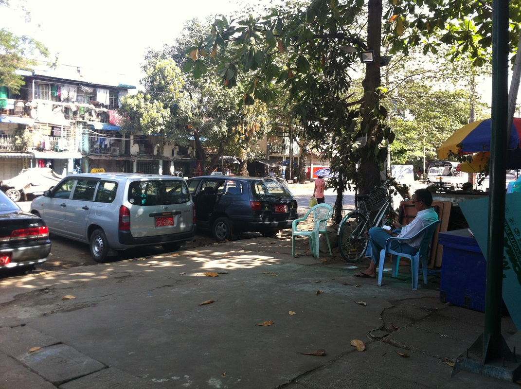 Taxi Stand Mother Land Inn 2 Yangon Myanmar TurnipseedTravel.com