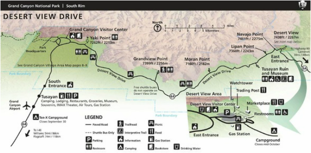 Map Grand Canyon National Park East Entrance and Desert View Drive