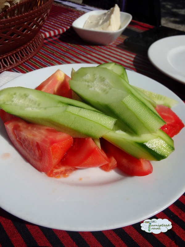 Cucumber and tomato, cafe, Hagia Sophia Trabzon