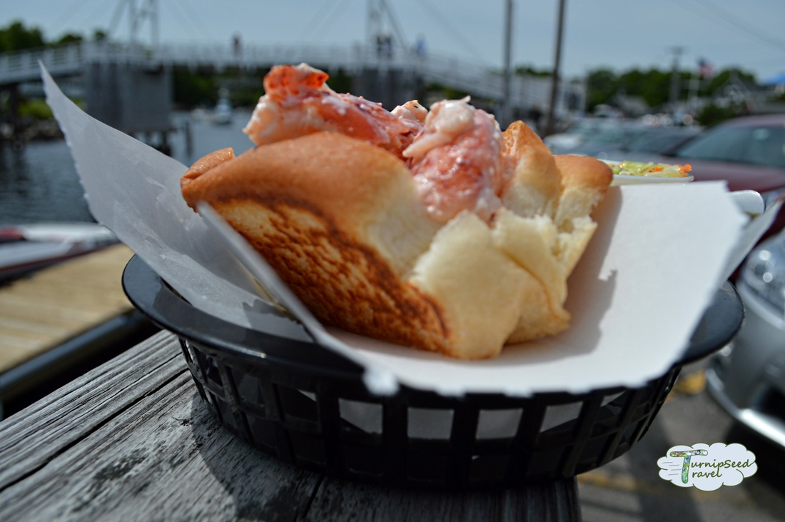 Toasted Maine lobster roll bun at the Lobster Shack, Maine