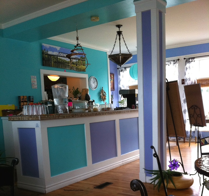 The bright, cheerful interior of Whirligig's Cafe. Wallace Nova Scotia