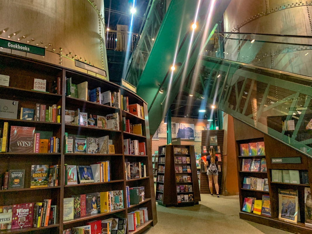 Barnes and Noble Baltimore old Power Plant Interior showing a funky staircase and multiple bookshelves Picture