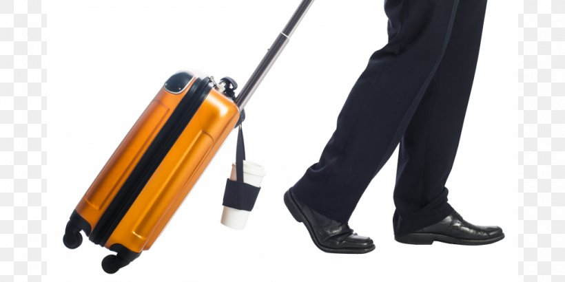 Picture of an orange rolling suitcase with a coffee holder