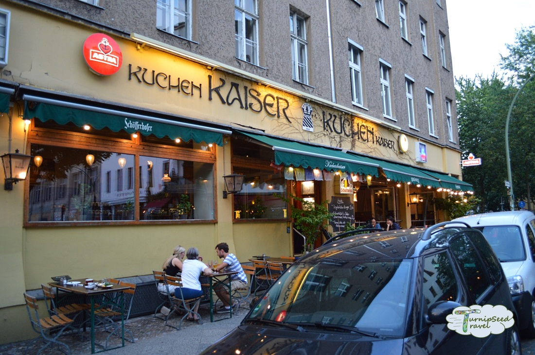 Outdoor seating at Kuchen Kaiser cake shop in Berlin. Picture
