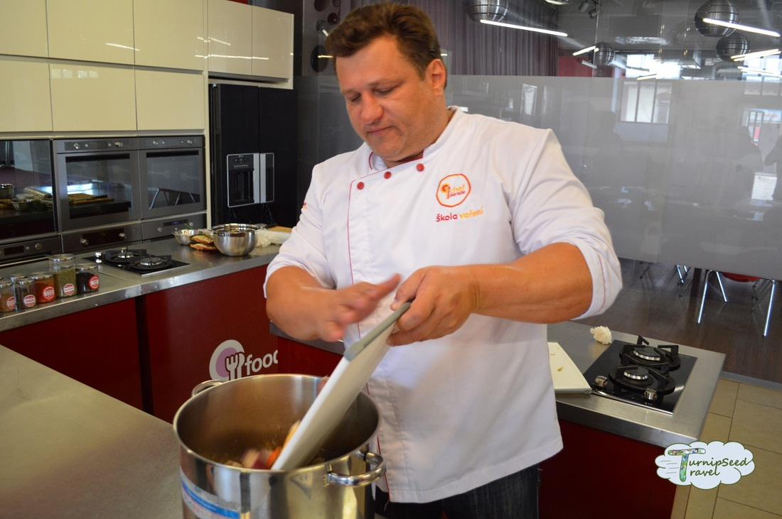 Preparing Stock Chef Parade Cooking Class Prague Picture