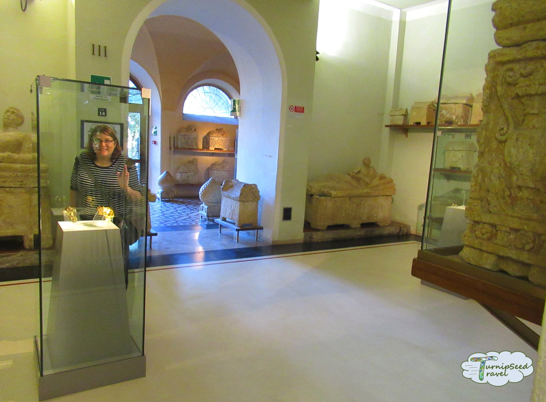 Artifacts at the Guarnacci Etruscan Museum in Volterra