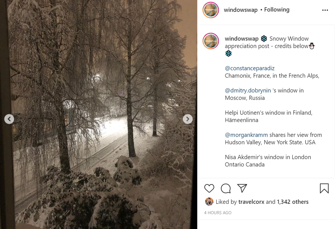 Instagram screen shot showing a snowy winter street with tall trees in Finland, plus the Instagram caption applicable to it and other shots. Picture