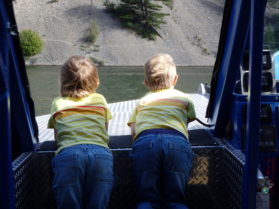 Two toddlers with yellow stripped shirts look out at the water on a boat tour, looking for Kelseya Uniflora Picture
