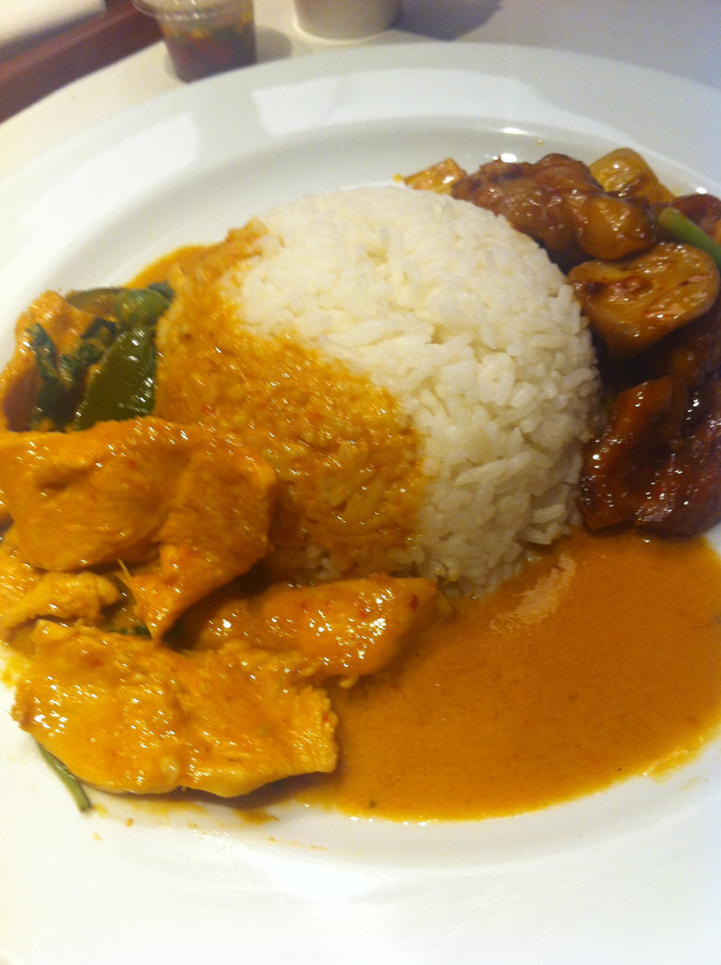 Rice, red curry chicken, and cashew chicken in Thailand