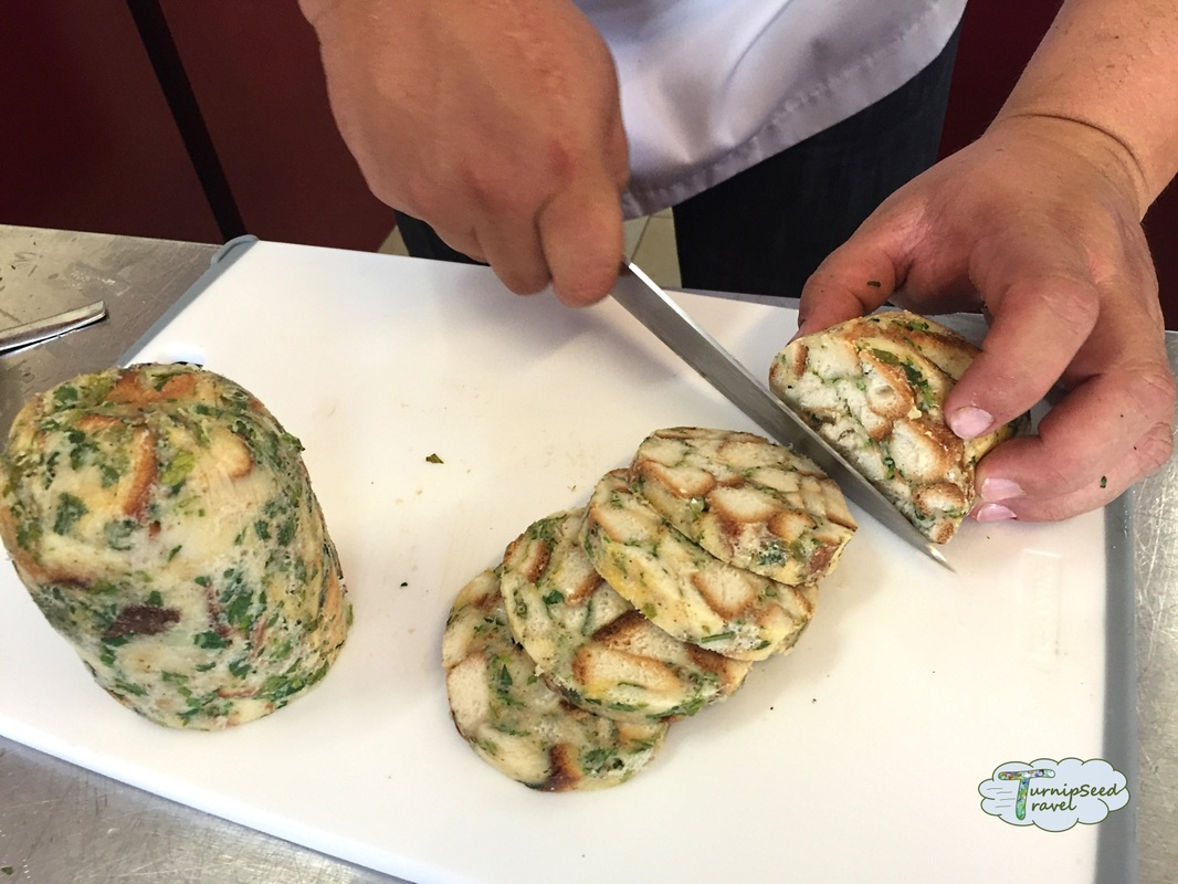 Homemade steamed bread dumplings with cubed bread and parsley Picture