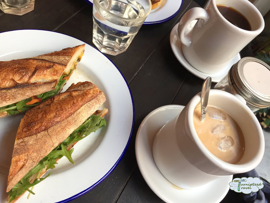 Fremantle coffee Leake St Cafeteria sandwich and coffee