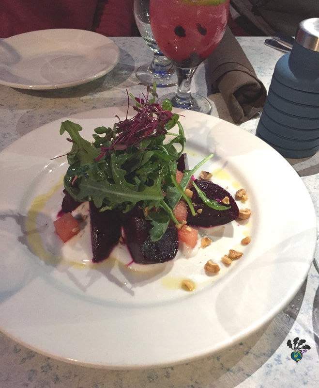 Belton Chalet dining room Beet salad with nuts and greens Picture