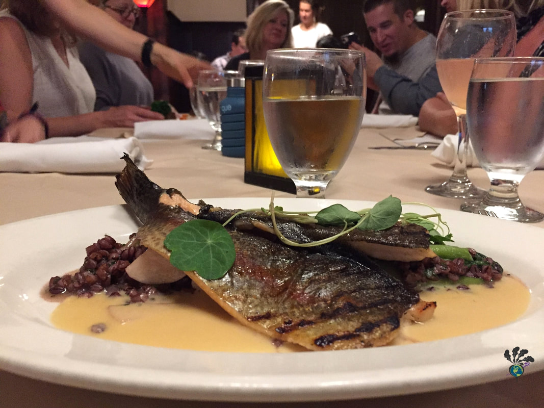 Belton chalet dining room: Plate of grilled trout on top of purple lentils and a white saucePicture