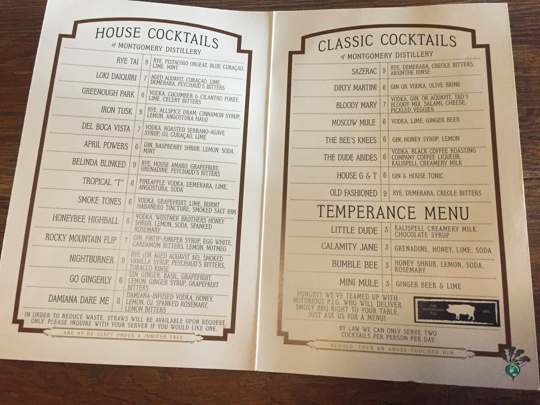 List of house cocktails, classic cocktails, and non alcoholic drinks at Montgomery Distillery in Missoula Montana Picture
