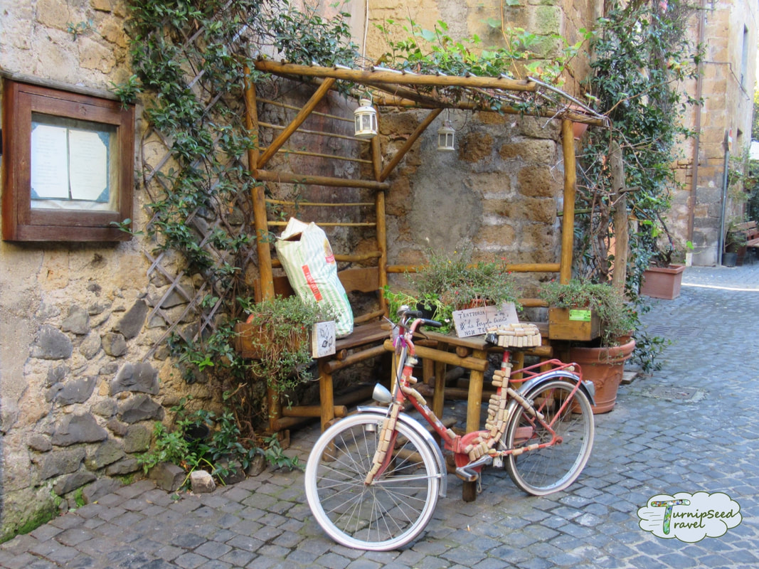 Bicycle covered in corks in Orvieto Italy by TurnipseedTravel.com ure