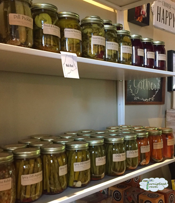 Pickles and preserves at Cabot Farmer's Annex in Portland Maine