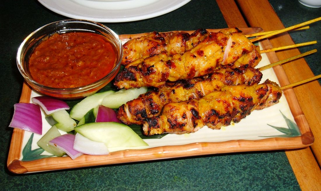 Satay in Bali with dipping sauce