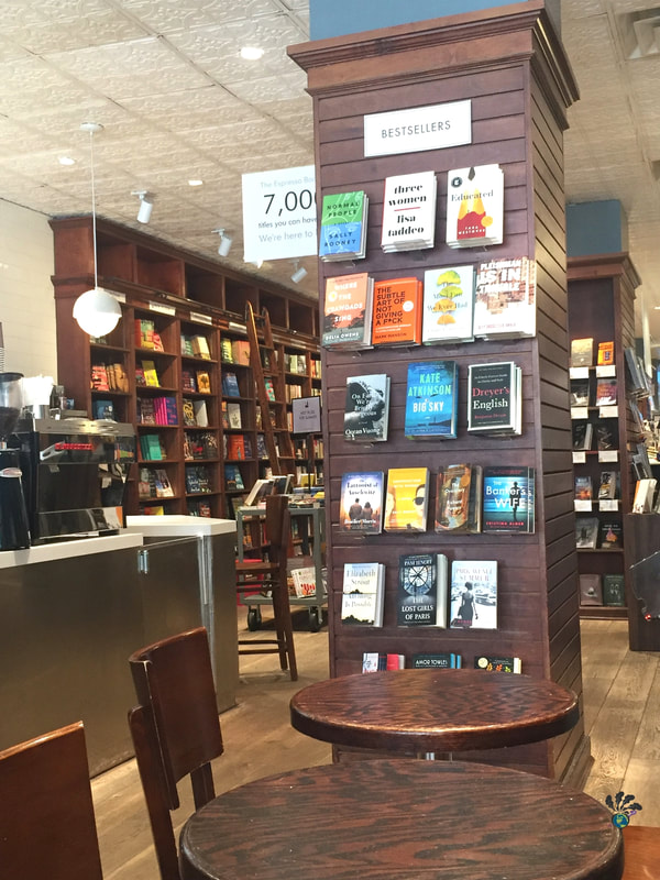 Tall brown display bookshelves at Shakespeare and Co in NYC Picture