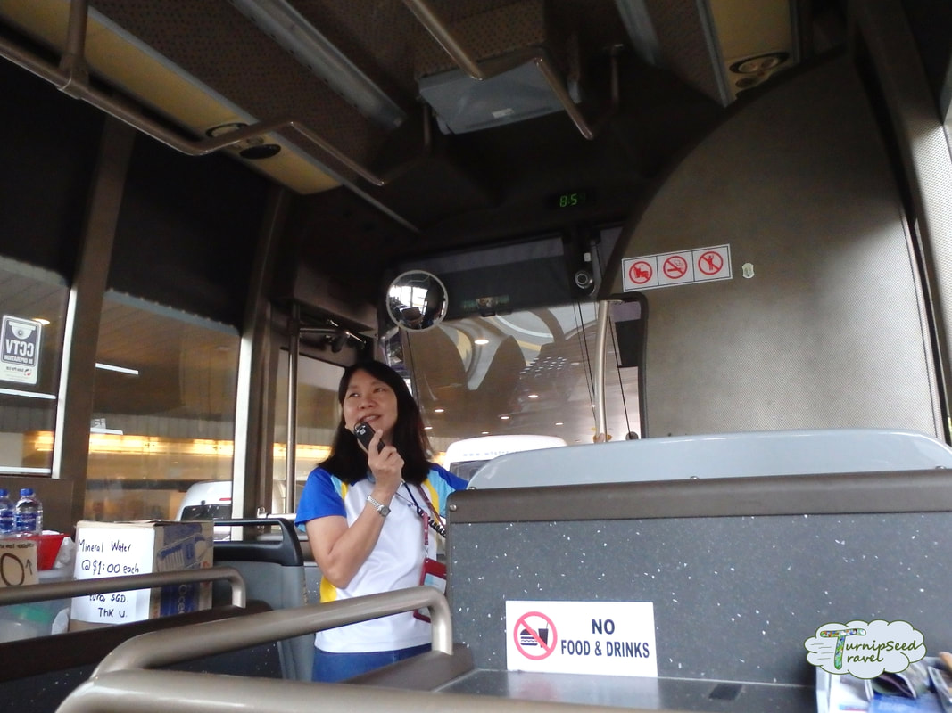 A tour guide addresses the tour bus on the free Singapore tour from Changi airport