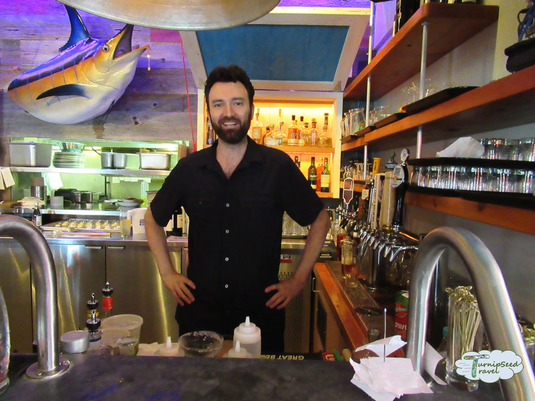 Chris the tequila bartender at Dianne's Fish Shack and Smokehouse in Kingston Ontario