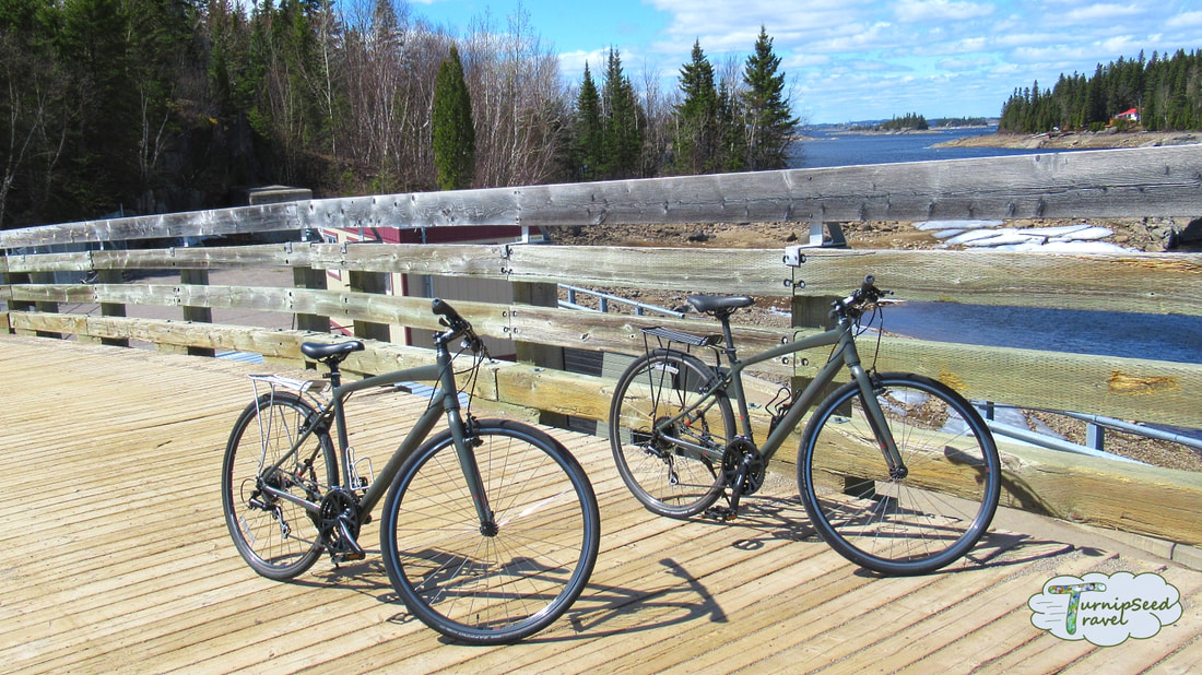 Cycling Quebec véloroute des bleuets Two bikes on a wooden bridge Picture